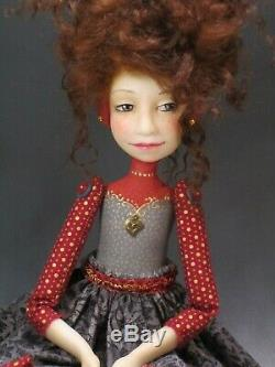 Artiste Doll Dark Red Hair Freckles Red Shoes Ooak