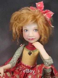 Artiste Doll Red Gold Cheveux Haut Talon Chaussures Ooak