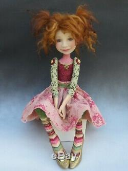 Artiste Doll Red Hair Freckles Chaussures Or Ooak
