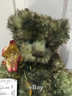 Artiste Mohair Teddy Bears Spring Air Brossé Vert Diana Watts Ooak Vintage 15