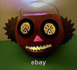 Artiste Ooak Jol Halloween Lanterne De Citrouille Papier Machier Jack Roads 2010