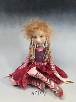 Artiste Poupée Cheveux Blonds Dreads Chaussures Or Ooak