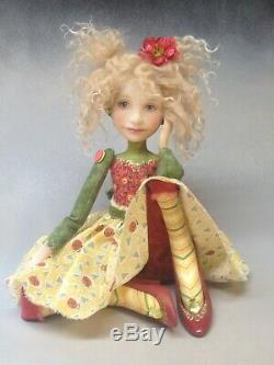Artiste Poupée Cheveux Blonds Freckles Chaussures Rouge Ooak