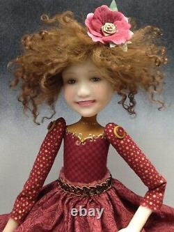 Artiste Poupée Cheveux Bruns Freckles Chaussures Rouge Ooak