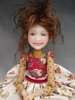 Artiste Poupée Cheveux Bruns Rouge Chaussures Ooak