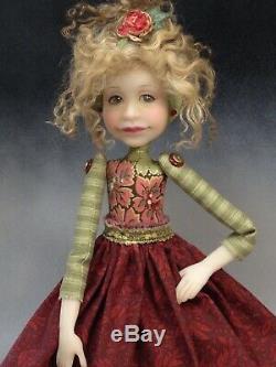 Artiste Poupée Curly Cheveux Blonds Rouge Chaussures Ooak