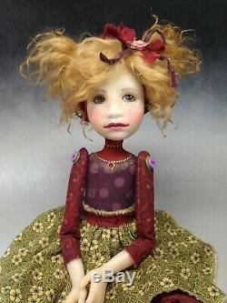 Artiste Poupée D'or Cheveux Blonds Freckles Chaussures Or Ooak