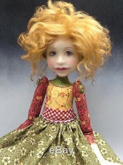 Artiste Poupée D'or Rouge D'or Cheveux Chaussures Ooak