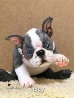 Boston Terrierpuppy / Chien Dans 16,5 (42 Cm) Jouet Réaliste