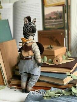 Cadeau Teddy Main Intérieur Jouet Animal Collectables Ooak Zebra Cowboy Doll Décor