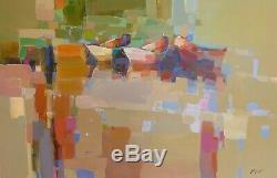 Chaloupes, Peinture À L'huile Originale Grande Oeuvre D'une Main Un Genre