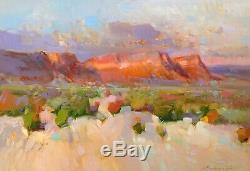 Desert View, Peinture À L'huile, Art Fait À La Main, Un D'une Sorte