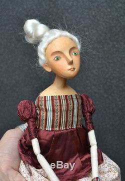 Doll Art, Main Artisan En Papier Mâché Tissu Doll Toy-fille, Ooak, Artiste Moderne
