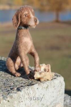 Dollhouse Miniature Feutre Chien Ooak Drathaar Jouet Pour Chien
