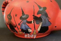 Fabuleux Artiste Ooak Sorcière Théière D'halloween 11 Sorcières Lune Volant Rare Signé