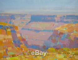 Grand Canyon, Huile Peinture Originale Grande Oeuvre D'une Main Un Genre