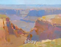 Grand Canyon, Peinture Originale À L'huile, Œuvres D'art Faites À La Main, Unique En Son Genre