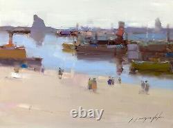 Harbor, Peinture À L'huile Originale, Œuvres D'art Faites À La Main, Unique En Son Genre