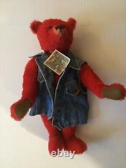 Heidi Steiner Artiste Américain Grand 22 Zeke Hand Dyed Red Mohair Teddy Bear