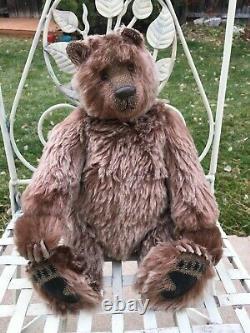 Htf Artiste Mohair Teddy Bears Huxie Brown Grizzly Yvonne Graubaek Hovvigs Vntg