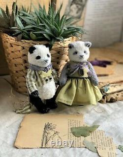 Jouet Fabriqué À La Main Teddy Cadeau Collectionnable Poupée Animal Ooak Pandas Ours Paire