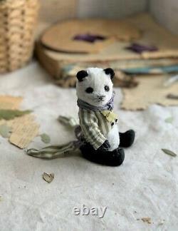 Jouet Fabriqué À La Main Teddy Cadeau Collectionnable Poupée Animale Ooak Panda Bear Decor