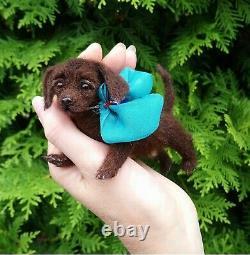 Labrador Retriever Dog Sculpture Miniature Felted Réaliste Pet Par Yana Fedorova