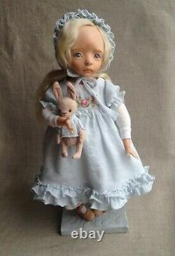 Little Doll Artist Baby Girl Handmade Polymer Clay Size 12 In