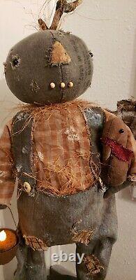 Magnifique Début Primitive Ooak Main Citrouille Doll & Turkeytalented Artiste