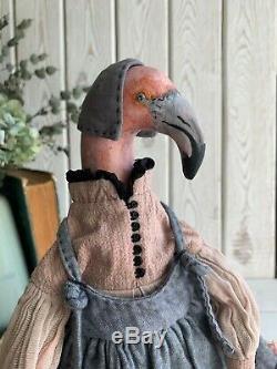Main Intérieur Jouet En Peluche Cadeau Oiseau Poupée Ooak Art Flamingo Clay Tissu Boudoir