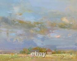 Ochre Nuages, Paysage Peinture À L'huile Originale, Oeuvres Artisanales, Un Des Genres