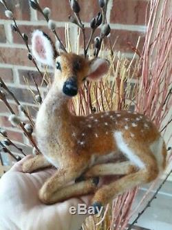 Ooak Aiguille Felted Deer Fawn Animas Sculpture Laine Par Tatiana Trot