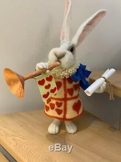 Ooak Aiguille Felted Lapin Blanc Alice Au Pays Des Merveilles Collectables Sculpt Ours
