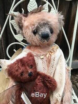 Ooak Artiste Mohair Teddy Bears Tina Et Son Teddy Cathy L Forcino Vintage 20
