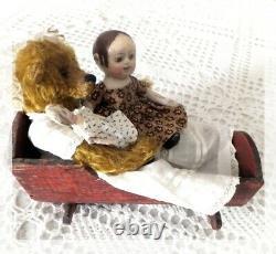 Ooak Artiste Repro Izannah Walker & Art Fabric Mills Dolls /teddy Bear & Cradle