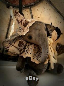 Ours En Peluche Éléphant Artiste Ours Vintage Doll Ooak Thème Cousu Main Paris