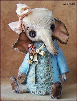 Par Alla Bears Artiste Old Antique Vintage Elephant Maison Oreiller Art Poupée Ooak Bébé