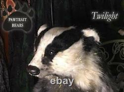 Pawtrait Bears Ooak Réaliste / Fantaisie D'hiver De Fourrure Crépuscule Badger Brigitte Smith