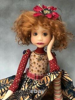 Poupée D'artiste Par Dianne Adam Auburn Robe De Tournesol Cheveux Ooak