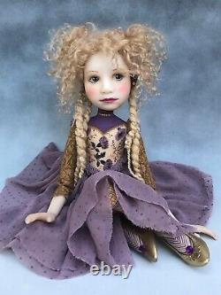 Poupée D'artiste Par Dianne Adam Blond Cheveux Dreads Chaussures Or Ooak