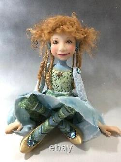 Poupée D'artiste Par Dianne Adam Blond Cheveux Freckles Chaussures Or Ooak