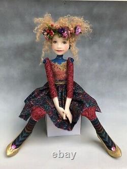 Poupée D'artiste Par Dianne Adam Blond Flower Flower Freckles Halo Ooak