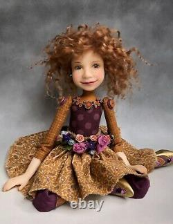 Poupée D'artiste Par Dianne Adam Brun Clair Cheveux Freckles Fleur Halo Ooak