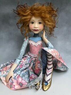 Poupée D'artiste Par Dianne Adam Rouge Cheveux Freckles Or Chaussures Ooak