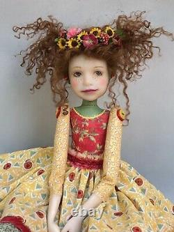 Poupée De L'artiste Par Dianne Adam Brown Hair Freckles Flower Halo Ooak