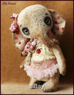 Prêt À L'expédition Alla Bears Artiste Ooak Douche Éléphant Poupée Bébé Petit Gâteau Rose