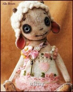 Prêt À L'expédition Artiste Bears Alla Art Agneau Moutons Bébé Pépinière Vintage Poupée Ooak