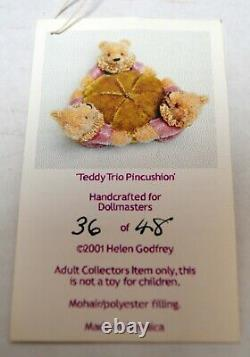 Rare Mohair 36/48 Teddy Trio Ours Pincushion Helen Godfrey 2001 Dollmasters