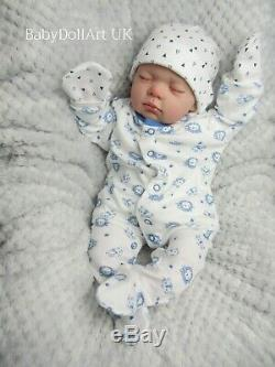 Réincarné Baby Boy Doll, Du Nouveau-né 18 Baby Sleeping Logan 4lbs, Artiste Uk