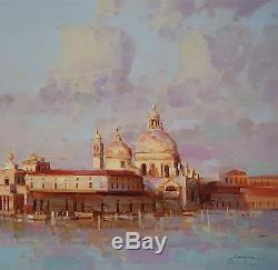 Santa Maria Della Salute, Venise Originale Peinture À L'huile, La Main, Un D'une Sorte